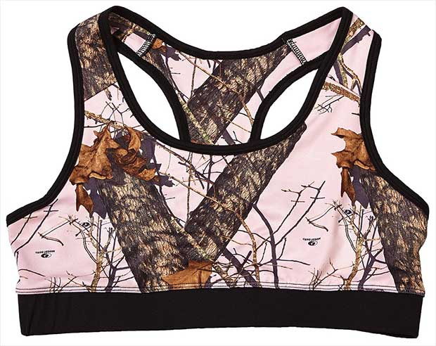2f8c728be88 Pink Mossy Oak camo activewear bra has a racer back for enhanced range of  motion and moisture wicking technology to keep you dry through your  toughest ...
