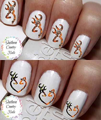 10 country bling camo nail decals real country ladies show off your country love with a set of 25 orange camo buck and doe nail decals looks best applied on top of clear or white polish solutioingenieria Images