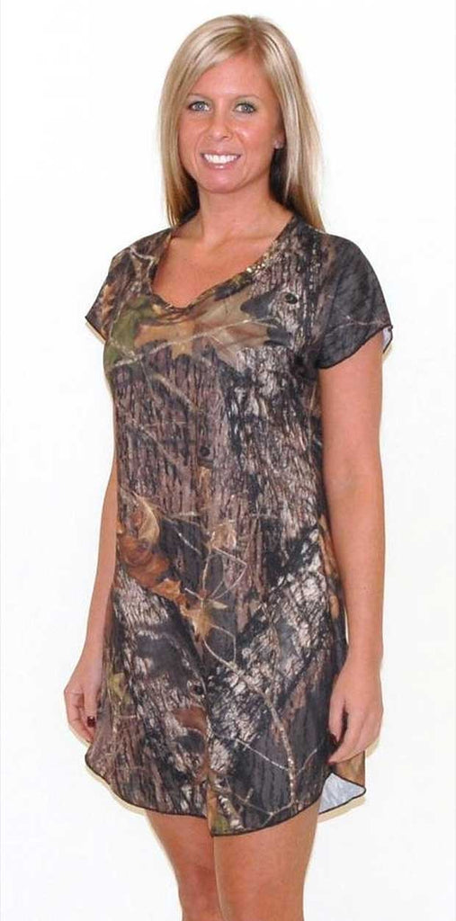 08da4698fe26e Short sleeve, mid-thigh length Mossy Oak nightshirt is girl-next-door sexy.  It's made of a figure flattering poly spandex blend so it hugs your body in  all ...
