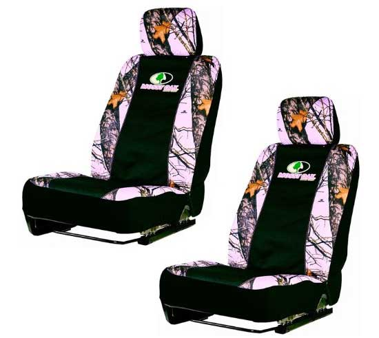 Set Of Two Pink Mossy Oak Infinity Camo Car Seat Covers Are Designed To Fit The Front Seats Most Cars Trucks Or SUVs Also Include Bonus Mesh