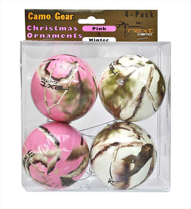 Set of four Realtree camouflage ornaments, two in pink and two in white,  made from a solid foam core and a scratch resistant paper decoupage wrap. - 10 Country Christmas Ornaments - Real Country Ladies