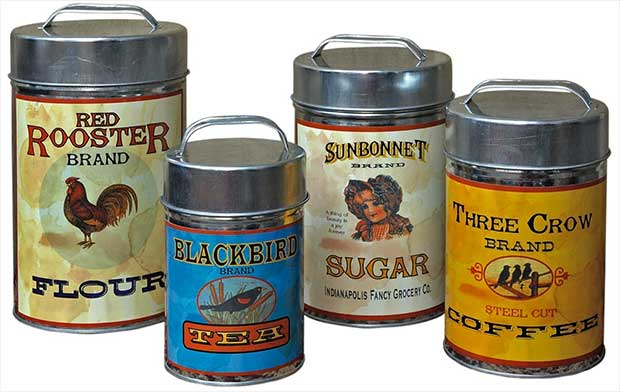Set Of Four Vintage Tin Canisters Feature Labels Of Retro Flour Sugar Tea And Coffee Brands Canisters Are Not Food Safe And Are For Decoration Purposes