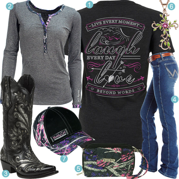 0a1a16cb573 Live Laugh Love Black Cowboy Boots Outfit - Real Country Ladies