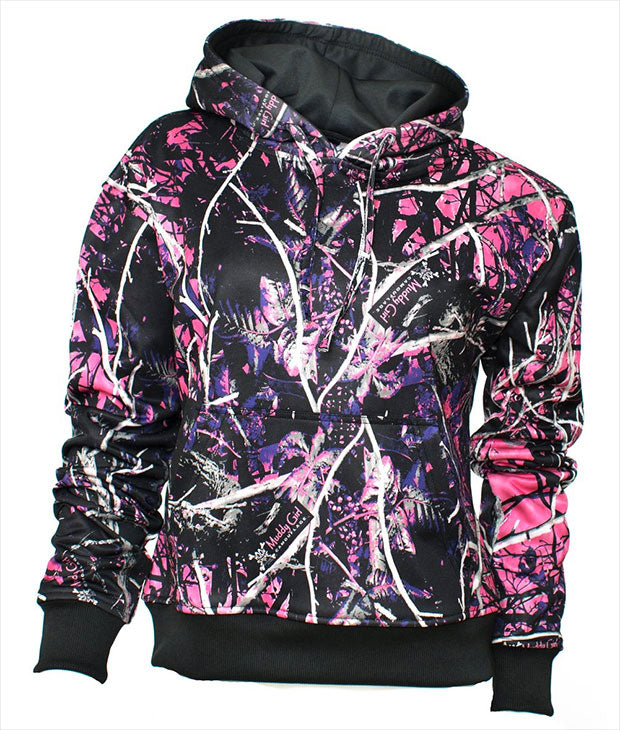 e70ab48b7b3e6 This fabulously fashionable Muddy Girl Pullover jacket will keep you warm  and styling this cooler season. This tag-less, Fleece Performance Camo  Hoodie, ...