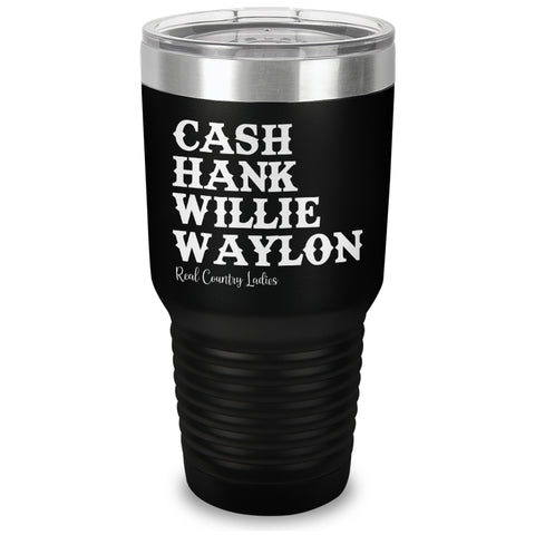 Cash Hank Willie Waylon Laser Etched Tumbler