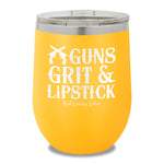 Guns Grit And Lipstick 12oz Stemless Wine Cup