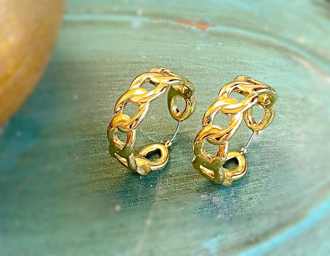 Chain Link Hoop Earrings - Gold
