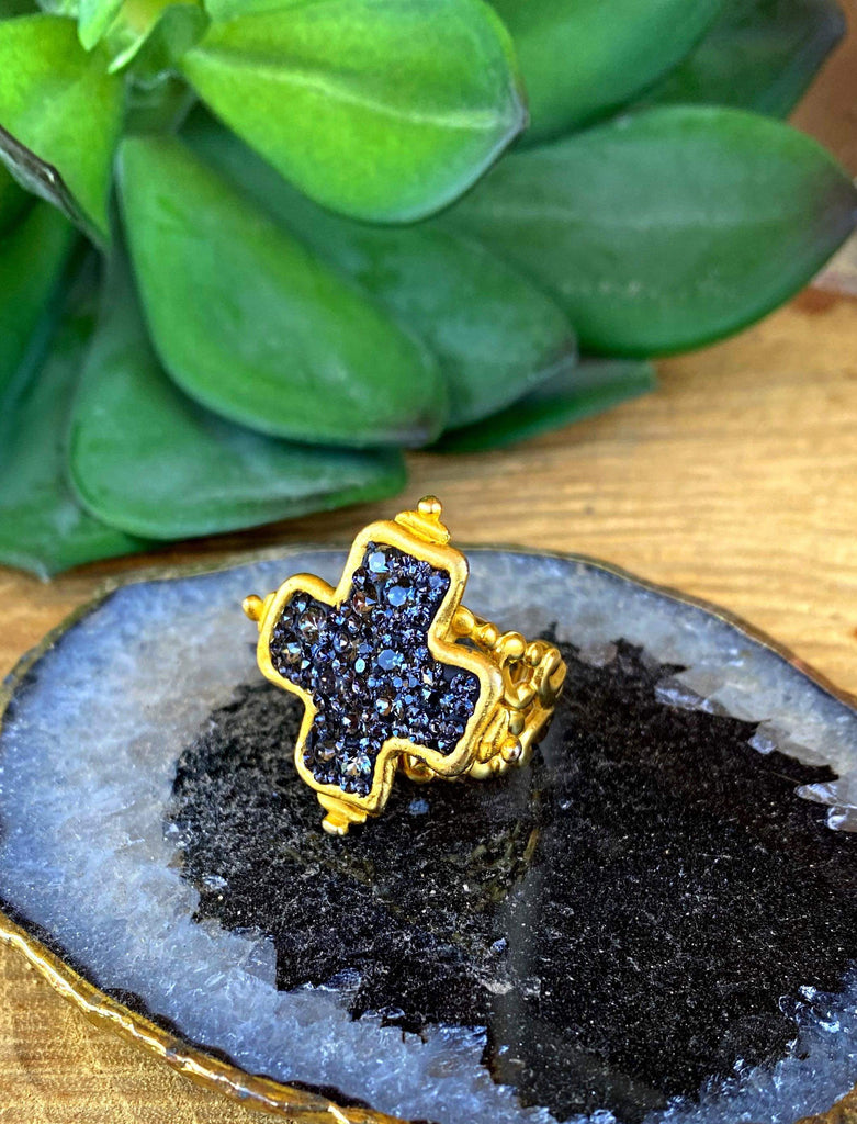 Strata Cross Casted Adjustable Ring- Gold
