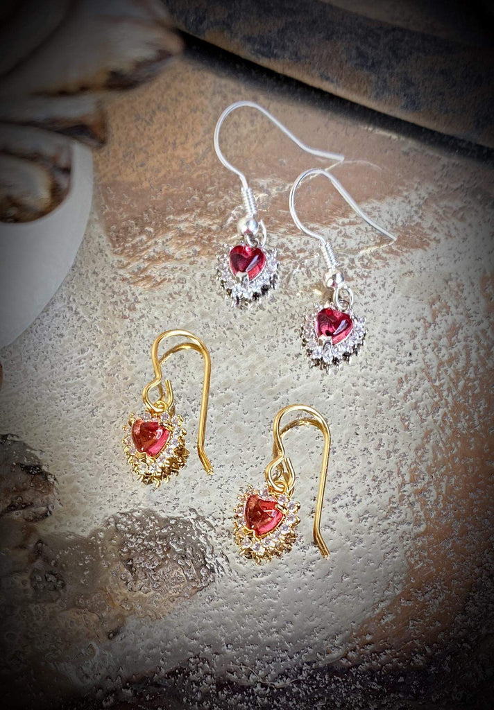 Red Heart Earrings - Silver