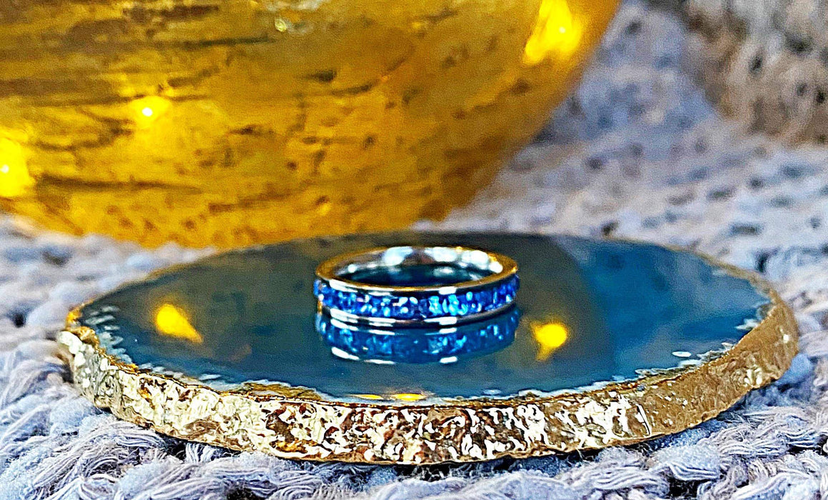 Stackable Band Ring - Lt. Sapphire - Silver - SZ 7