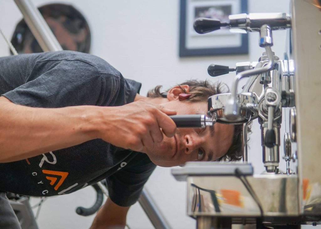 LIKE MOST CYCLISTS, CARPENTER WILL ALSO HAVE A CAFFEINE PLAN FOR THE RACE. LIKELY ONE THAT BEGINS WITH GRINDING BEANS IN HIS HOTEL ROOM AT 4 AM.