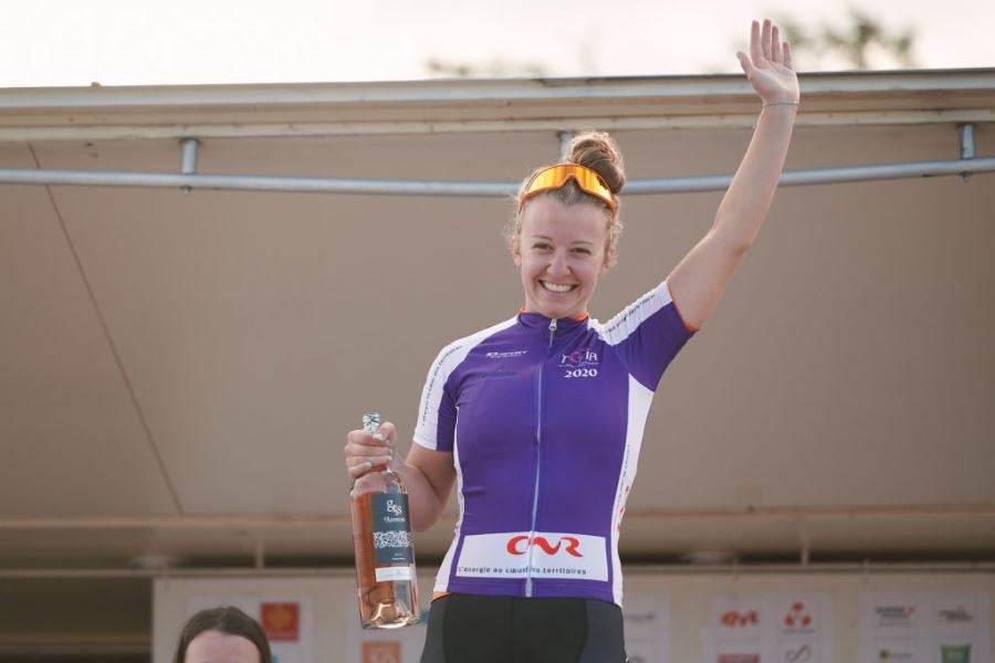 Emma White in Purple Jersey Tour de L'Ardeche - Rally Cycling