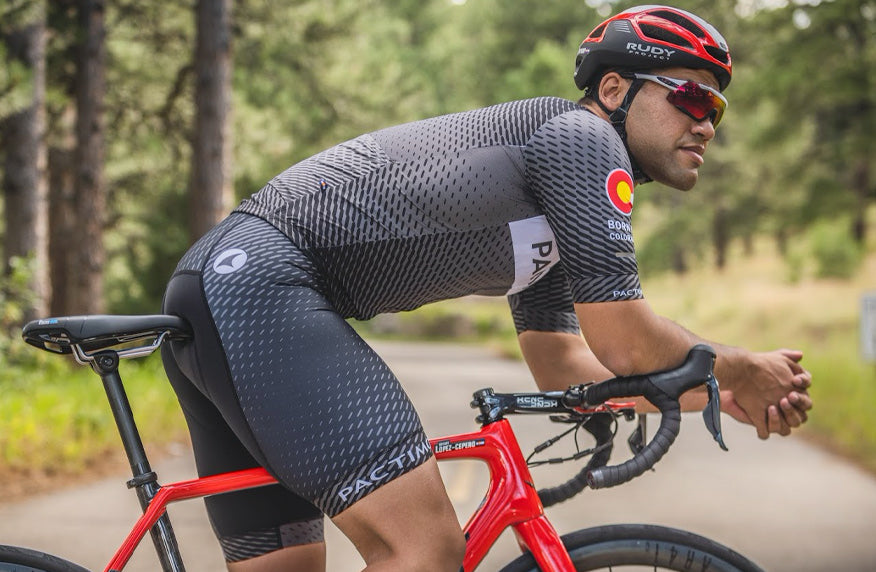 Male cyclist wearing the new Ascent Jersey
