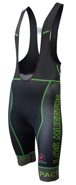 Example of contrast stitching on custom cycling bib shorts