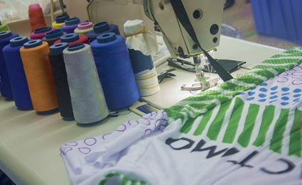 Custom cycling clothing sewing department