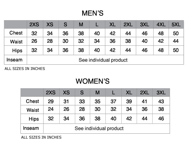 Custom cycling clothing size chart