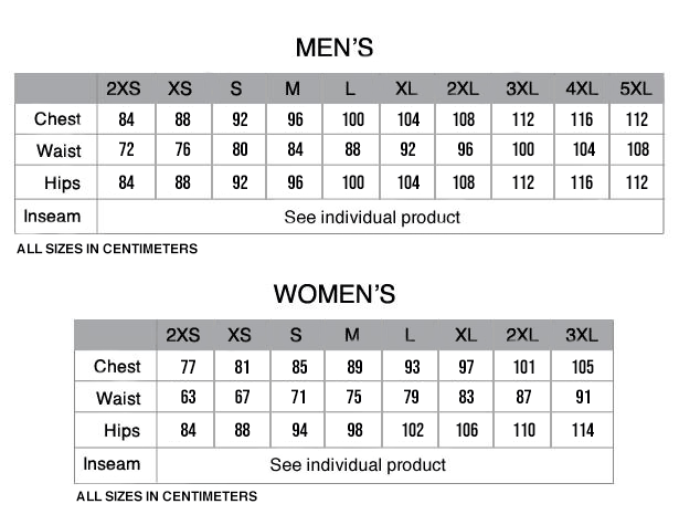 Pactimo Custom Clothing Size Chart - Centimeters