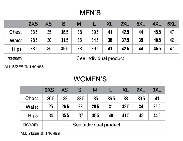 Pactimo Custom Cycling Clothing Size Chart - Inches
