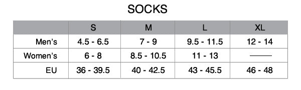 Custom cycling sock size chart