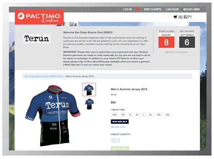Custom Cycling Clothing Team Store Example