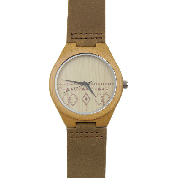 Natural Bamboo Wood Watch (Aztec Print)