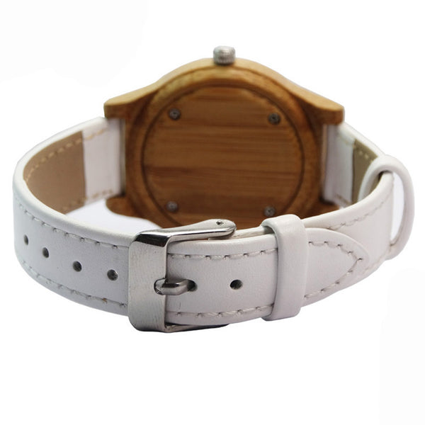 Natural Bamboo Wood Watch (White Numbered)