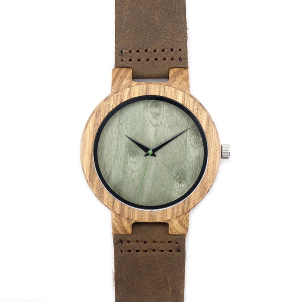 Natural Bamboo Wood Watch (Green Leather)