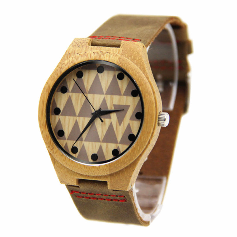 Natural Bamboo Wood Watch (Triangles)