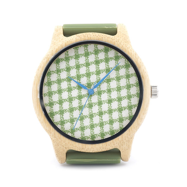 Natural Bamboo Wood Watch (Green Rubber)