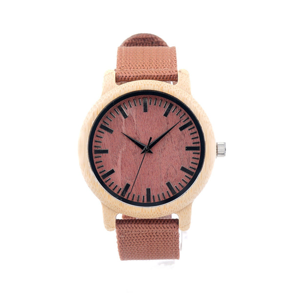 Natural Bamboo Wood Watch (Pink Canvas)