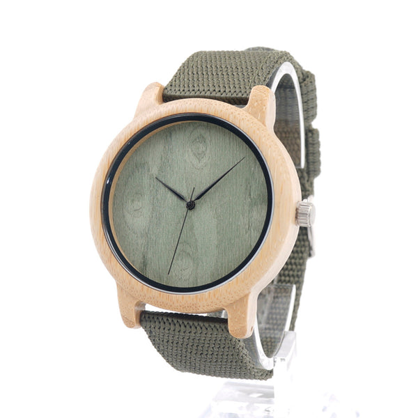 Natural Bamboo Wood Watch (Green Canvas)