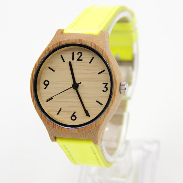 Natural Bamboo Wood Watch (Yellow)