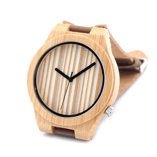 Natural Bamboo Wood Watch (Stripes)