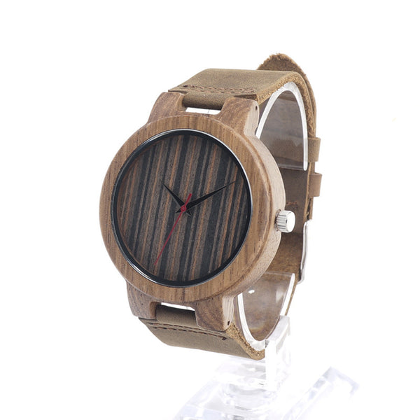 Natural Bamboo Wood Watch (Dark Stripes)