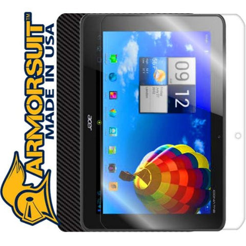 Acer Iconia A510 Screen Protector + Black Carbon Fiber Skin Protector