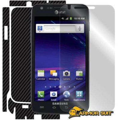 Samsung Galaxy S2 SkyRocket Screen Protector + Black Carbon Fiber Skin Protector