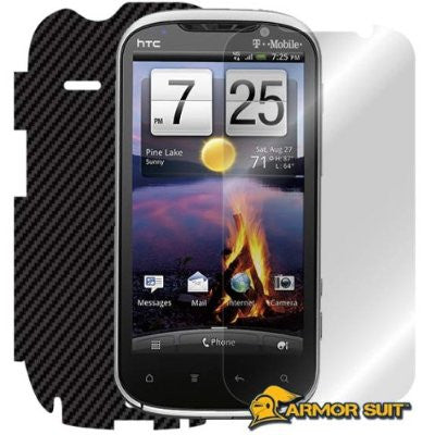 HTC Amaze 4G Screen Protector + Black Carbon Fiber Skin Protector