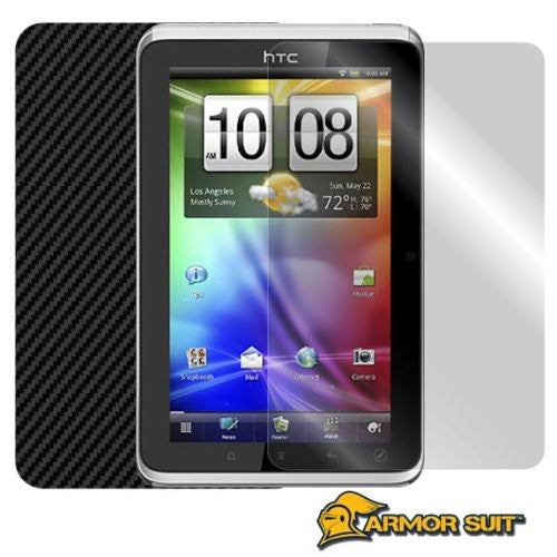 HTC Flyer 3G Screen Protector + Black Carbon Fiber Skin Protector