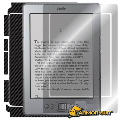 Amazon Kindle 4 Generation Tablet Screen Protector + Black Carbon Fiber Skin Protector