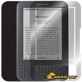 Kindle Keyboard Tablet Screen Protector + Black Carbon Fiber Skin Protector