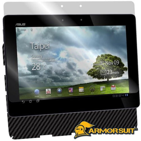Asus Transformer Prime TF201 Screen Protector + Black Carbon Fiber Skin Protector