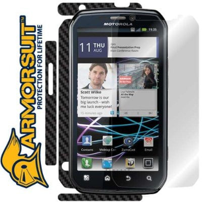 Motorola Photon 4G Screen Protector + Black Carbon Fiber Skin Protector