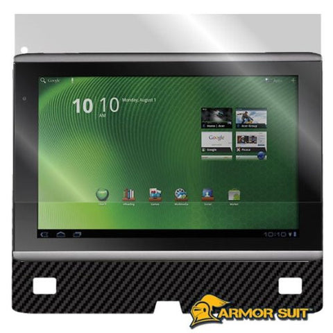 Acer Iconia A500 Screen Protector + Black Carbon Fiber Skin Protector