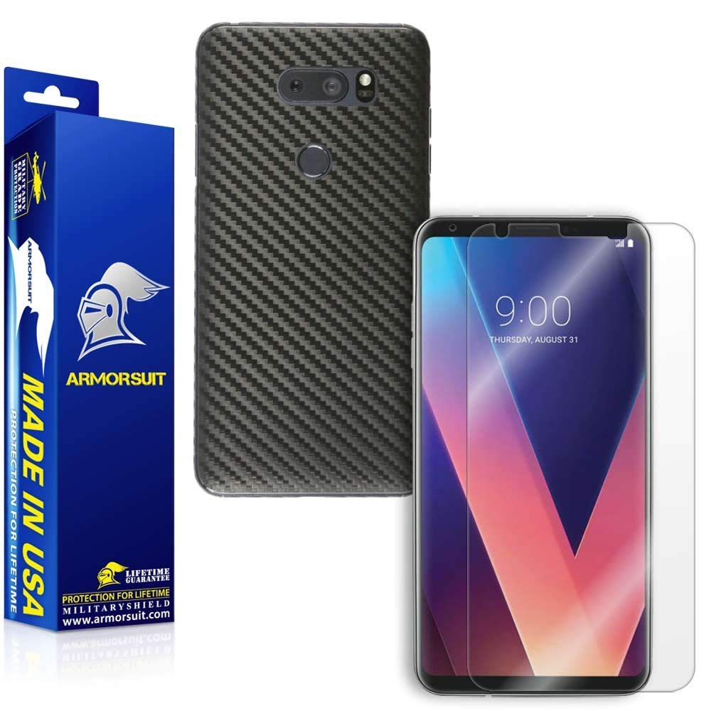LG V30 Screen Protector + Black Carbon Fiber Skin