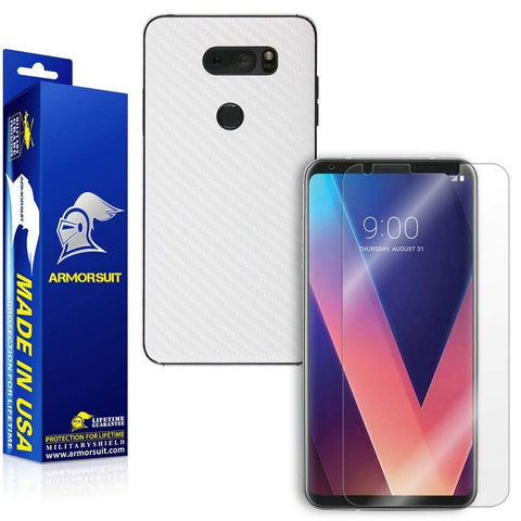 LG V30 Screen Protector + White Carbon Fiber Skin