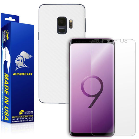 Samsung Galaxy S9 White Carbon Fiber Skin Protector