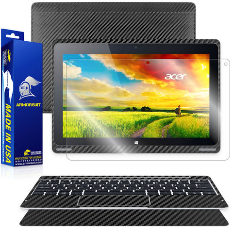 Acer Aspire Switch 10 (Model sw5-011) (Tablet & Keyboard) Screen Protector + Black Carbon Fiber Film Protector