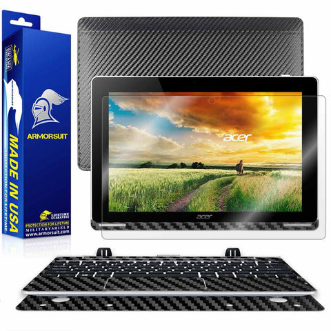 Acer Aspire Switch 10 (SW5-012) Screen Protector + Black Carbon Fiber Full Body Skin Protector (Tablet & Keyboard)