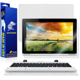 Acer Aspire Switch 10 (SW5-012) Screen Protector + White Carbon Fiber Full Body Skin Protector (Tablet & Keyboard)