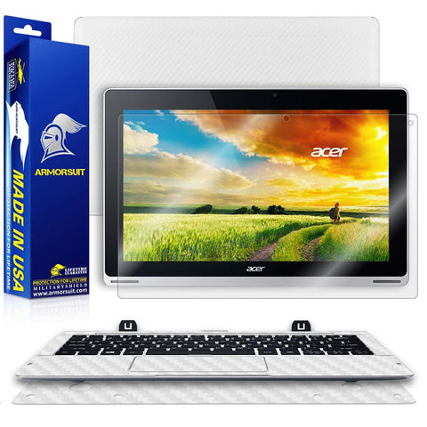 Acer Aspire Switch 11 (SW5-111) Screen Protector + White Carbon Skin Protector  (Tablet & Keyboard)